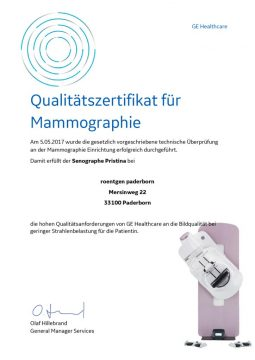 thumbnail of Qualitätszertifikat GE Mammo